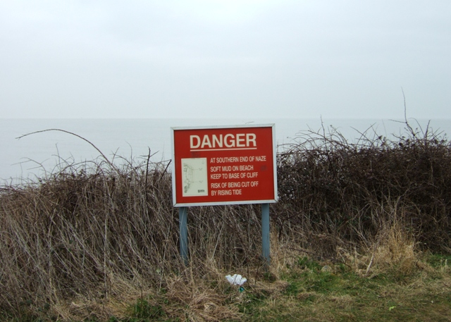 Warning sign, The Naze