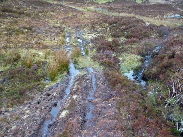 Wet track towards the Heaste road