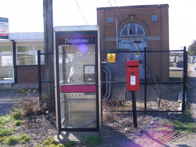 Telephone Box, Shepherd & Dog Public House Postbox & Electricity Sub-Station