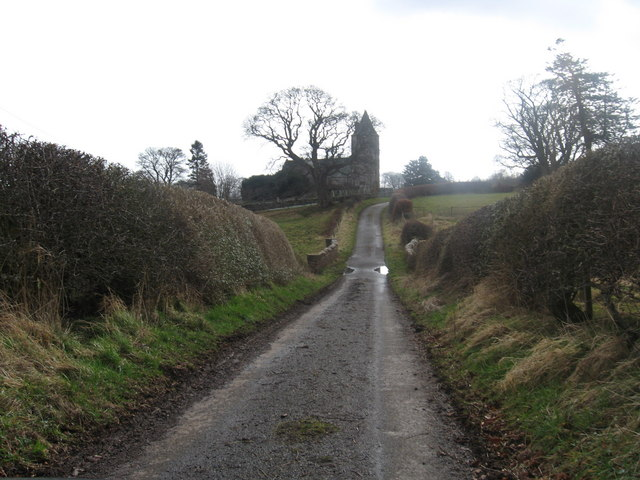 Single track road heading towards the kirk