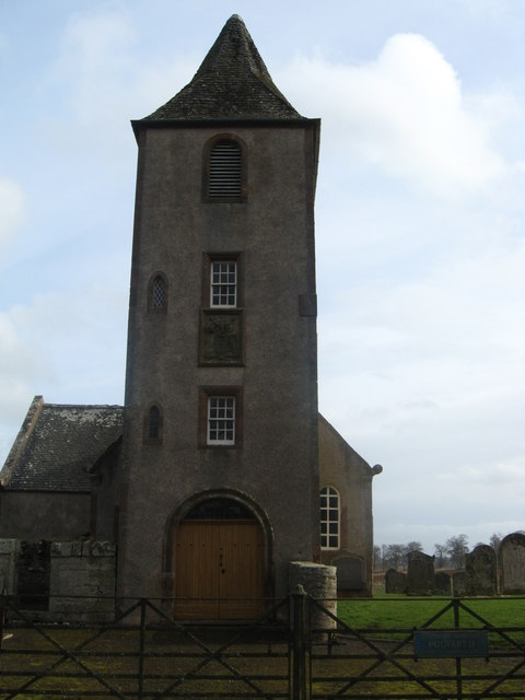 The entrance and tower of Polwarth Kirk