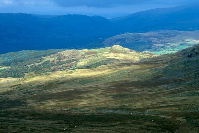 Down Cwm Arran from Mynydd Moel.