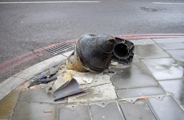 Damaged roadside post