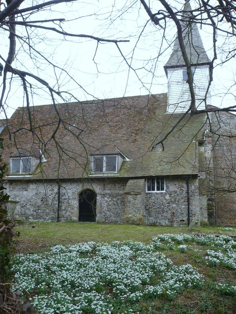 Snowdrops in the churchyard at All Saints Church West Stourmouth