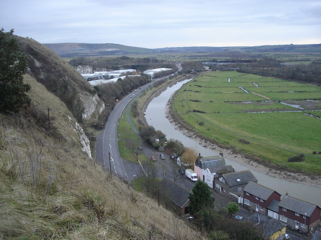 Lewes - A26 and River Ouse from Chapel Hill