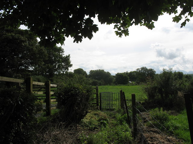 Kissing gate on footpath leading to Cors Bodeilio fen