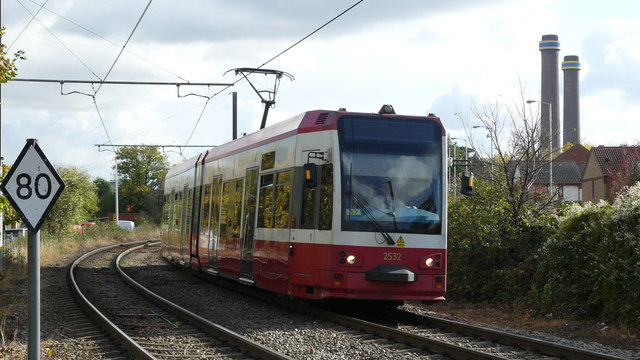 Tram Approaching Therapia Lane Stop