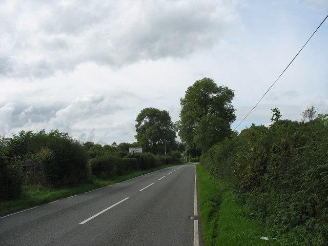 View westwards along the B5109 near Talwrn