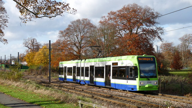 Tram in Lloyd Park, Croydon