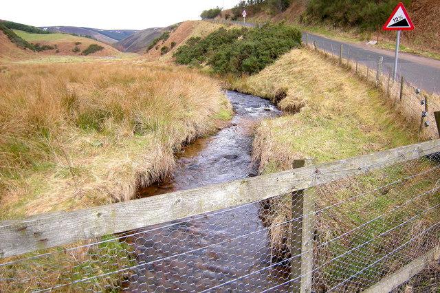 Slack Burn, looking upstream, at Clatterin' Brig