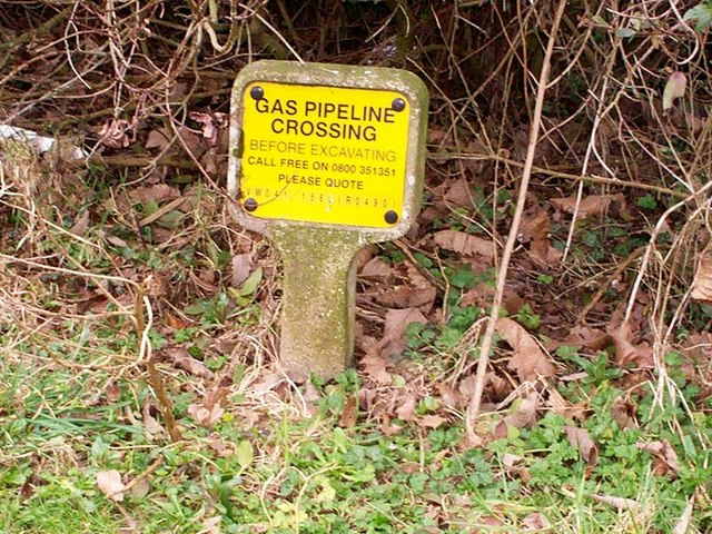 Gas pipeline warning sign, St Marys, Whitland
