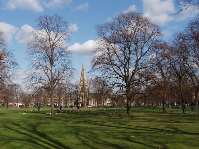 Turnham Green with leafless trees in winter