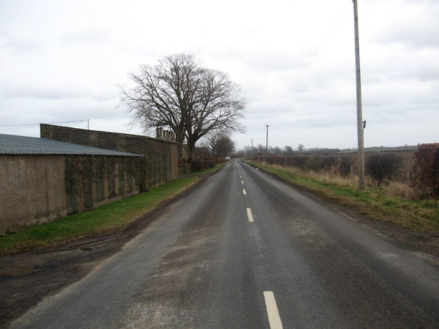 Farm buildings at the side of the B6460