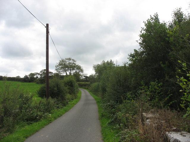 Road west of the bridge over Afon Erddreiniog