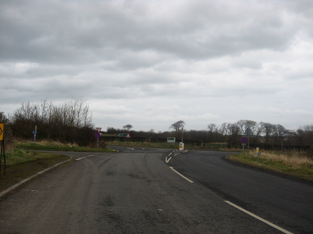 Junction of B6461 road and the A1 near Berwick