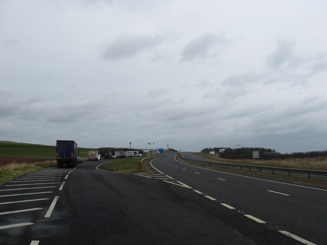 Lay- by and the A1 heading towards Scotland