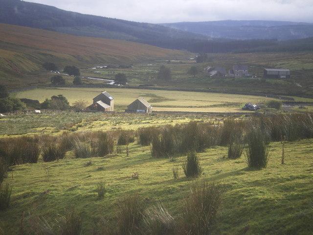 Kielder Head farm buildings in sun