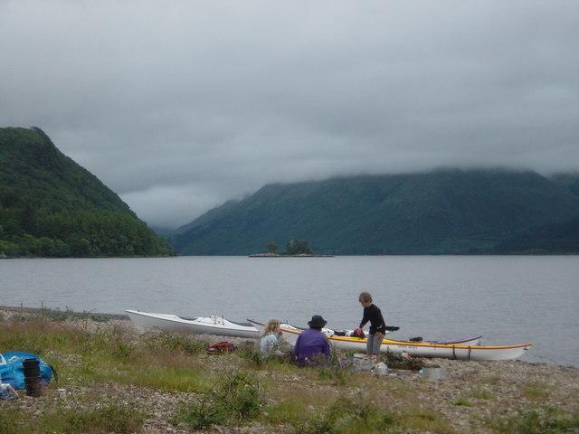 Sea kayak camping on Camas Grianach