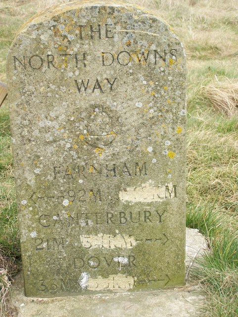 North Downs Way Marker, near Chalk Cross Memorial