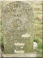 TQ9052 : North Downs Way Marker, near Chalk Cross Memorial by David Anstiss