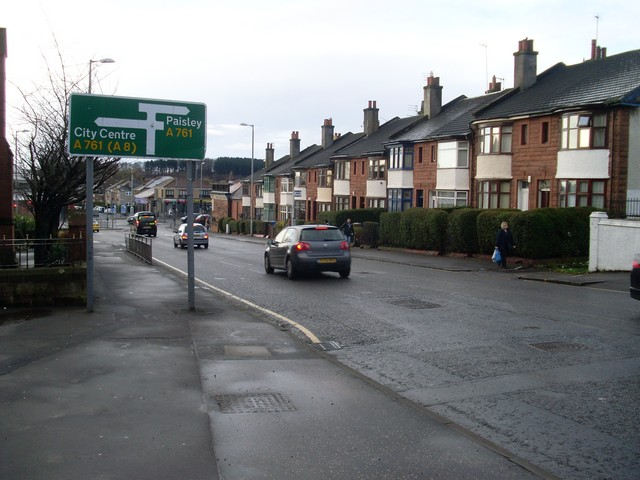 Road sign on approach to Paisley Road West