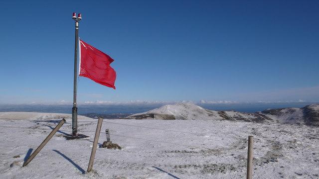 Red flag flying