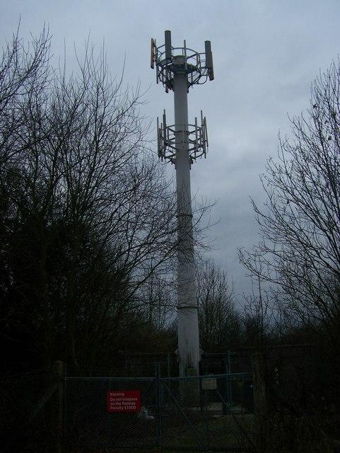Mobile Phone Mast, near railway line.