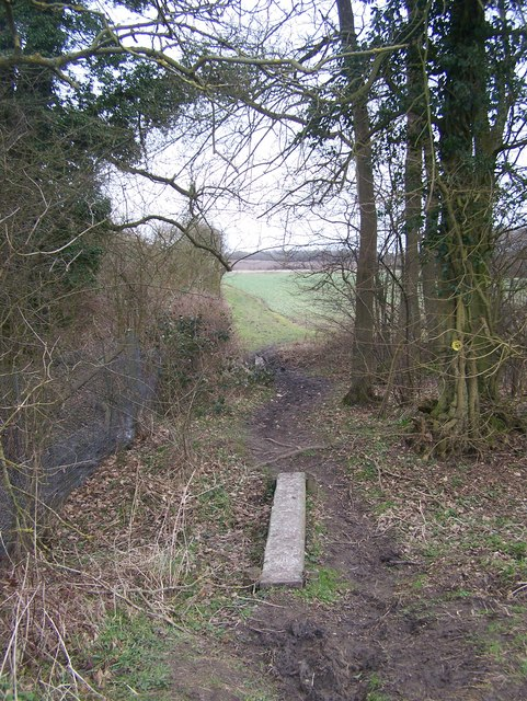 Small plank footbridge on Stour Valley Walk