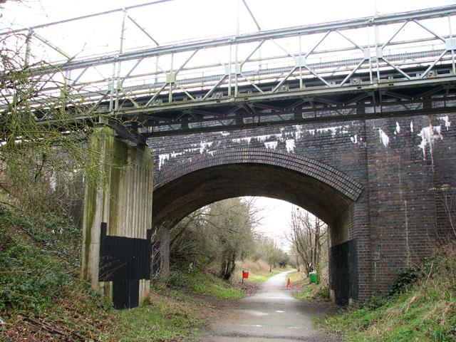 Road bridge and footbridge