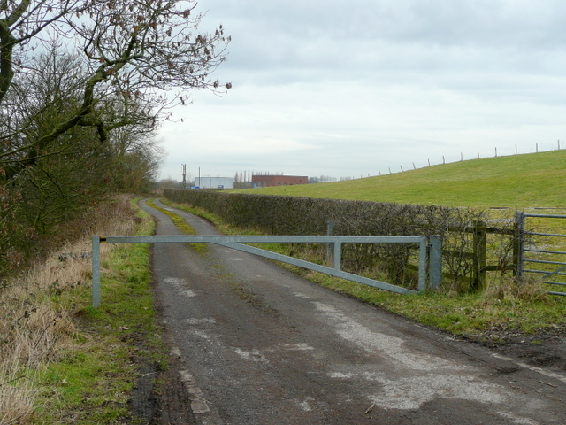 Gated road to Audley sewage works