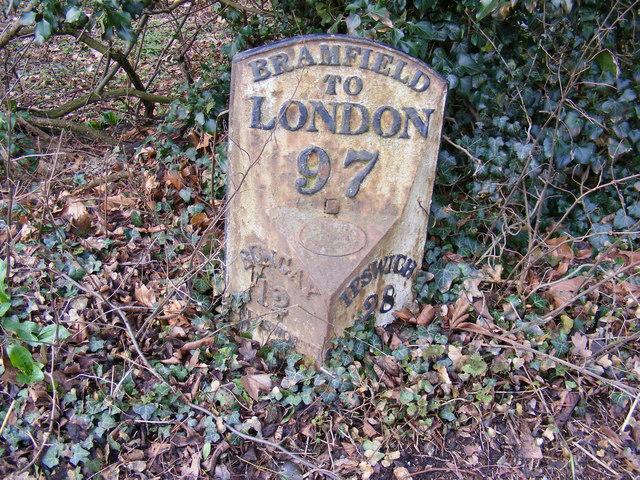 Milepost on A144 The Street, Bramfield
