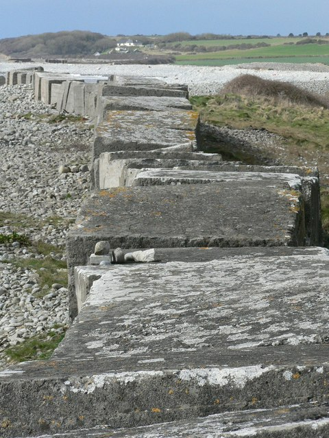 Top-down view of defensive barrier, Limpert Bay, Gileston.
