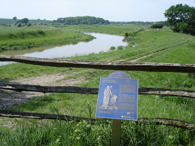 River Adur - and plaque giving historical information about Stretham Manor