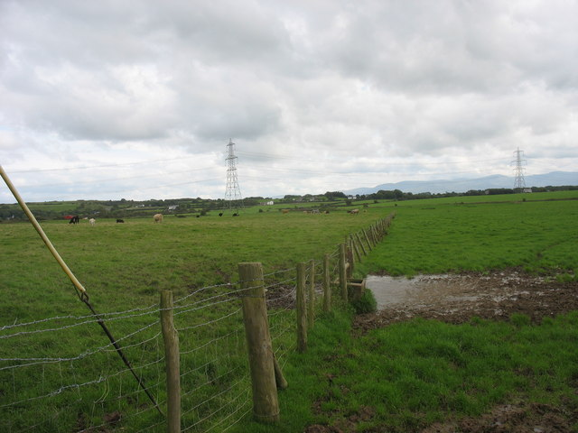 View southwards across grazing land from Maen Eryr Farm