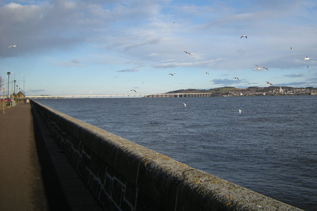 View of the River Tay and Tay Road Bridge at Dundee