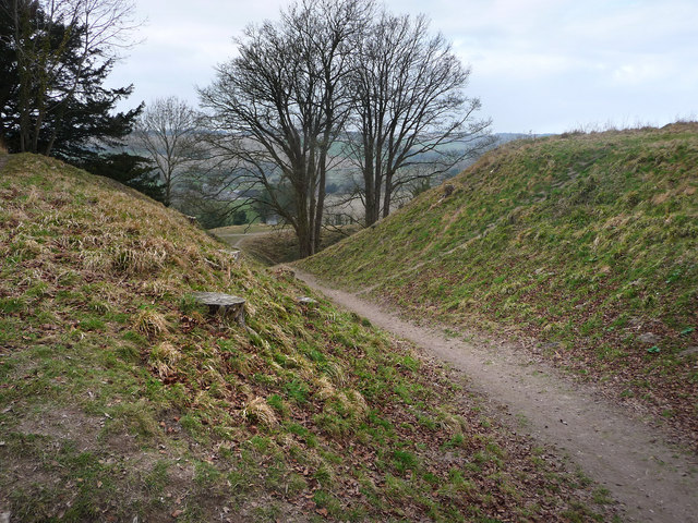 Old Sarum, footpath through the earthworks