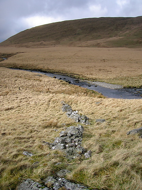 Ancient stone wall at Nant y Llyn farmstead