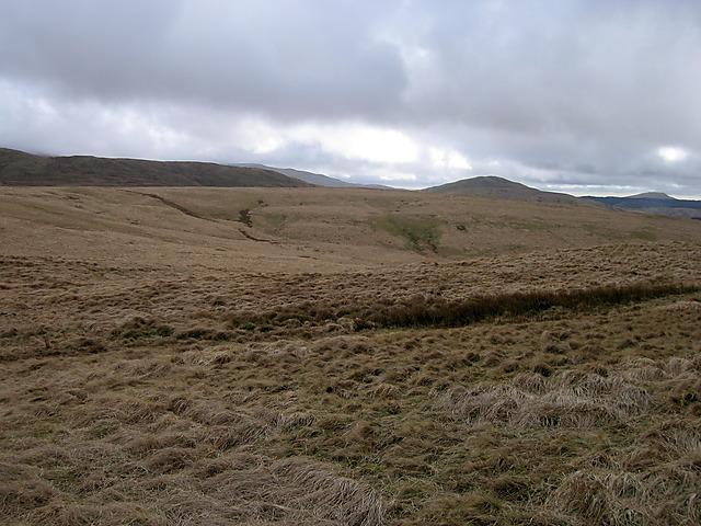 Moorland between Llechwedd Llwyd and Esgair Gorddi