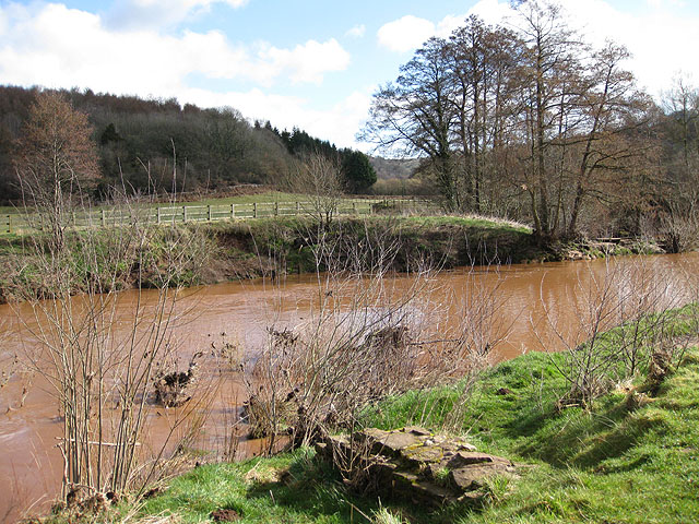 Brown waters of the River Monnow