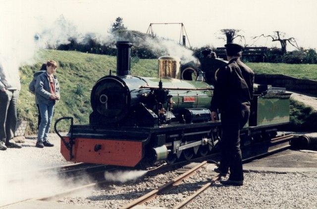 Dalegarth Station on Ravenglass & Eskdale Railway. Engine 'River Irt' on the turntable