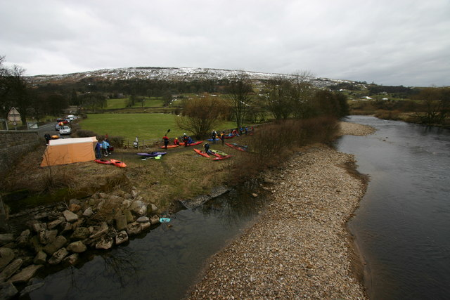 Canoeists ready to start the Swale Charity Paddle at Grinton