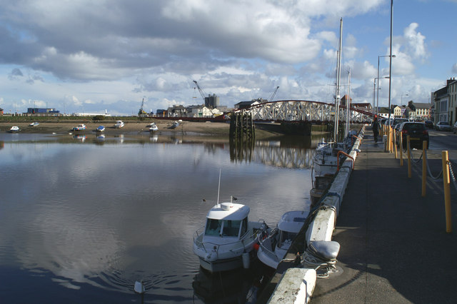 Swing bridge, Ramsey Harbour, from the West