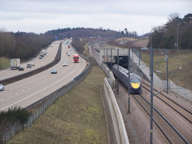 Train on CTRL, beside M20 Motorway and A20