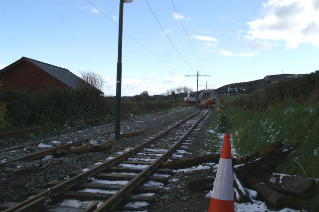 Track works on the Electric Tramway above Ramsey