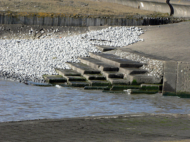Structural detail of sea defences at the River Thaw.