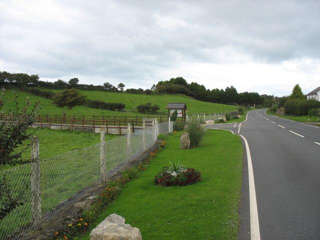 The entrance to Nant Newydd Caravan Park