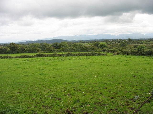 View ESE across grazing land in the direction of the Cors Goch fen