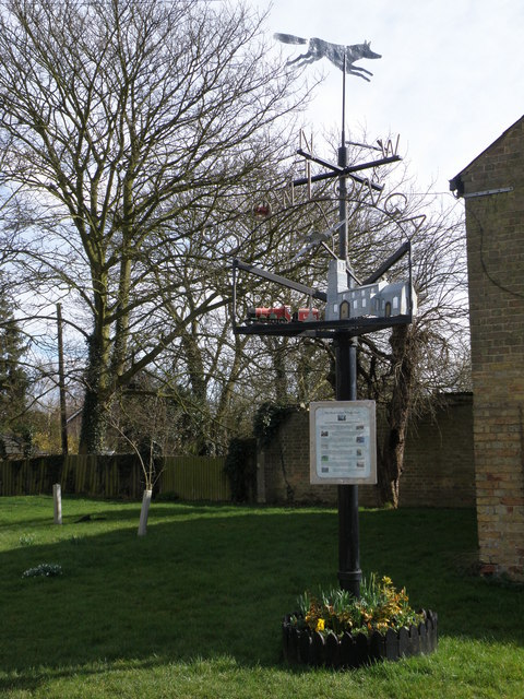 The Stow Longa village sign