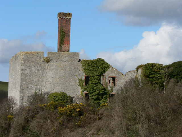 Ivy covered walls of Aberthaw Lime Works.