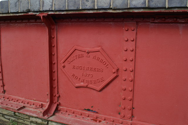 Manx Northern Railway - maker's plate on the bridge carrying the A4 at Ballaquine